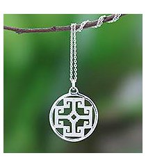 sterling silver pendant necklace, 'symmetrical labyrinth' (thailand)