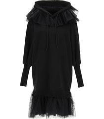 red valentino fleece dress with tulle point desprit