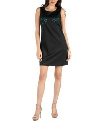 24seven comfort apparel scoop neck sleeveless shift dress with bodice detail