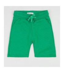 bermuda de moletom infantil com bolsos verde