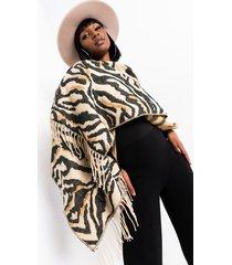 akira looking luxe soft knit zebra scarf