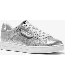 mk sneaker keating in pelle martellata metallizzata - argento (argento) - michael kors