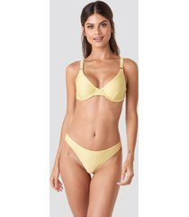 na-kd swimwear ribbed bikini panty - yellow