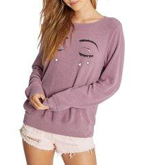 women's wildfox bbj sleeping beauty pullover, size small - purple