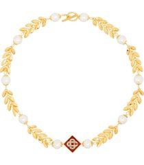 o thongthai x casablanca pearl pendant choker necklace - gold