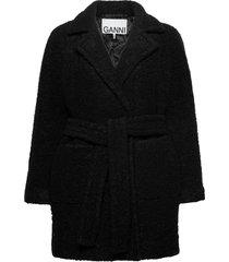 boucle wool ulljacka jacka svart ganni