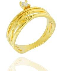 anel dona diva semi joias aros zircônia dourado