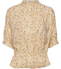 camila print blouses short-sleeved beige arnie says