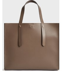 reiss swaby - leather tote bag in mid grey, womens
