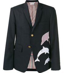 thom browne fresco dolphin embroidery sport coat - blue