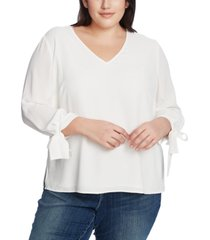 cece plus size 3/4 tie sleeve blouse