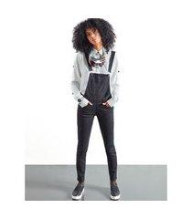 macacões khelf macacáo feminino black jeans preto