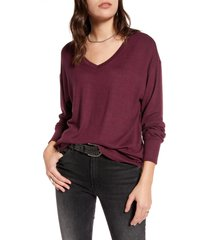women's treasure & bond cozy v-neck sweater, size x-small - burgundy