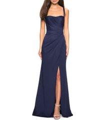 women's la femme ruched jersey a-line gown, size 12 - blue