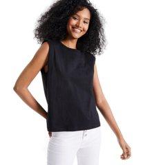 self esteem juniors' cotton muscle tank with shoulder pads