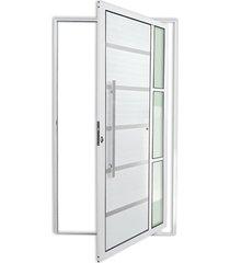porta pivotante esquerda com lambri e puxador em alumínio miraggio 210x100cm branca