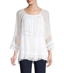 embroidered lace silk blouse