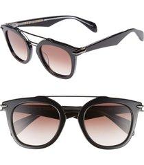 women's rag & bone 50mm round aviator sunglasses - black