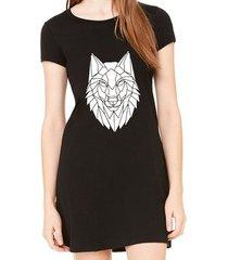 vestido criativa urbana estampado lobo tribal