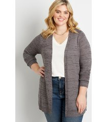 maurices plus size womens striped washed yarn cardigan gray