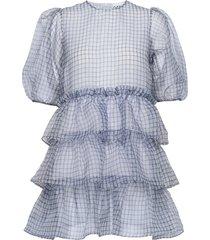 organza korte jurk blauw ganni