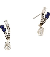 adriana orsini women's rhodium & ruthenium-plated, crystal & blue sapphire drop earrings