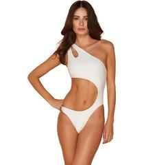 maiô mos beachwear assimétrico liso pérola off white