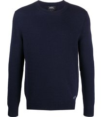 a.p.c. logo-embroidered sweater - blue
