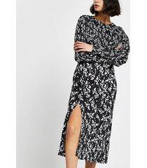 river island womens black floral long sleeve midi split dress