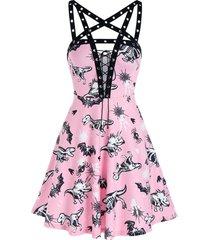 animal skeleton print punging neck grommet strap mini dress