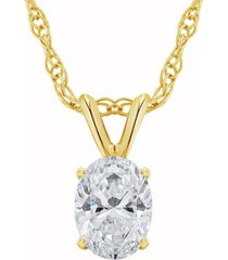 certified oval diamond solitaire pendant necklace (3/4 ct. t.w.) in 14k white gold or yellow gold