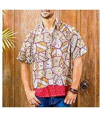 men's cotton batik shirt, 'island classic' (indonesia)