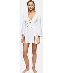 ivory tie front kaftan mini beach dress - ivory
