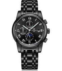 reloj, relojes de acero luminoso mecánico impermeable-negro