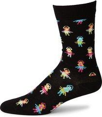 happy socks men's hula crew socks - black - size 10-13