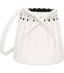 mansur gavriel mini pleated leather bucket bag - white