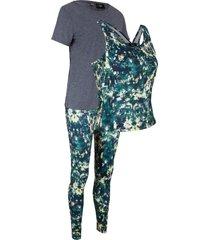 maglia, leggings, top (set 3 pezzi) livello 2 (blu) - bpc bonprix collection