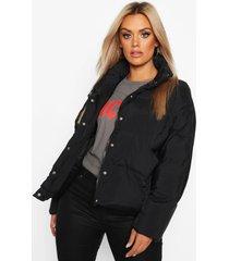 plus kortegewatteerde jas met hoge hals, black