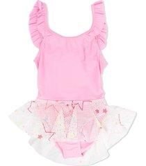 billieblush mesh-skirt swimsuit - pink