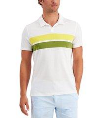 alfani men's open collar striped chest polo shirt, created for macy's