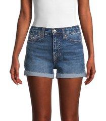 true religion women's jennie mid-rise rolled cuff denim shorts - dark blue - size 26 (2-4)