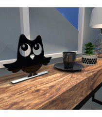 escultura de mesa mdf coruja simpática preto único