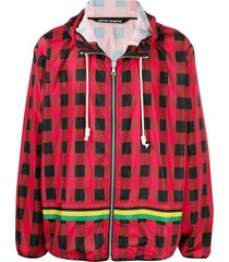 palm angels check-print hooded jacket - red