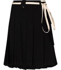 plan c pleated belted mini skirt - black