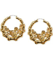 "thalia sodi gold-tone large multi-stone bamboo hoop earrings, 2.7"", created for macy's"