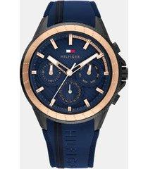 tommy hilfiger men's elevated sport watch wi dark blue strap and sub-dials navy/gold -
