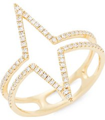 14k yellow gold & diamond outline ring