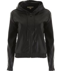 michael michael kors faux leather hoodie