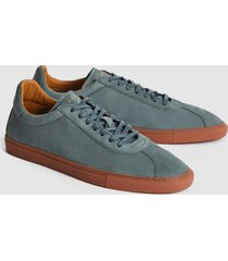 reiss glove - leather contrast sole trainers in teal, mens, size 13