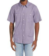 neuw denim waits short sleeve linen blend button-up shirt, size large in purple at nordstrom